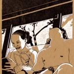 """Projet de livre illustré: autour de l'île Tahiti. """"petite sieste dans le truck""""."""