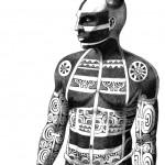 """Te Patu Tiki. """"Modèle de Kahi, homme de face"""". détail 1."""