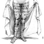 """Te Patu Tiki. """"Modèle de Kahi, femme de face"""". Détail 2."""