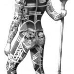 """Te Patu Tiki. """"Modèle de Kahi, homme de dos""""."""