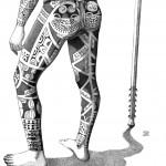 """Te Patu Tiki. """"Modèle de Kahi, homme de dos"""". Détail 2."""