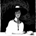Femme au chapeau / l'amérindienne - illustration Patrice Cablat, 2013